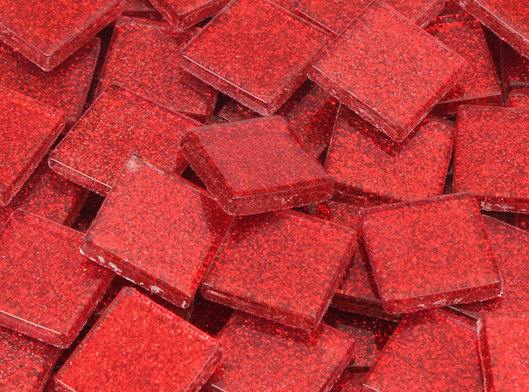 20 MM Radiant Red Glitter Mosaic Tile - The Artsy Soul