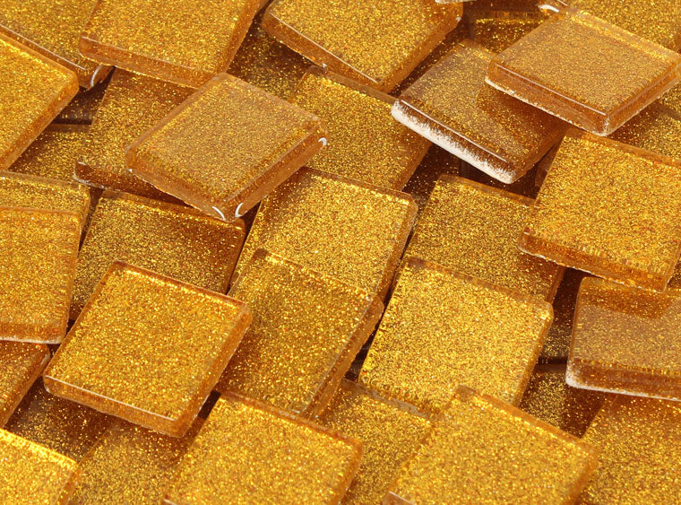 20 MM Gold Glitter Mosaic Tile - The Artsy Soul