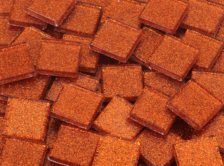 20 MM Orange Glitter Mosaic Tile - The Artsy Soul