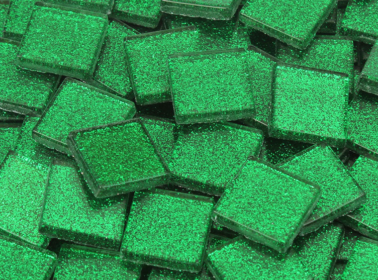 20 MM Forest Green Glitter Mosaic Tile - The Artsy Soul