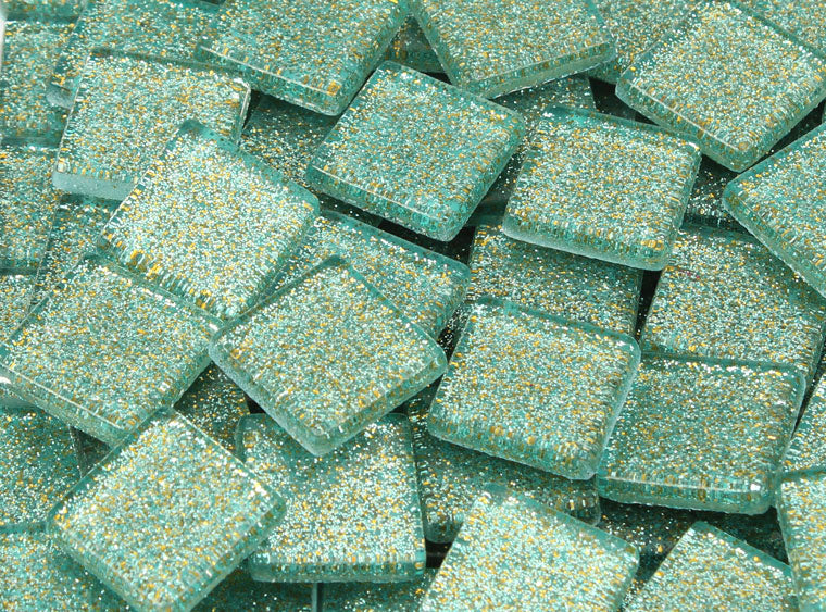 20 MM Jungle Green Glitter Mosaic Tile - The Artsy Soul