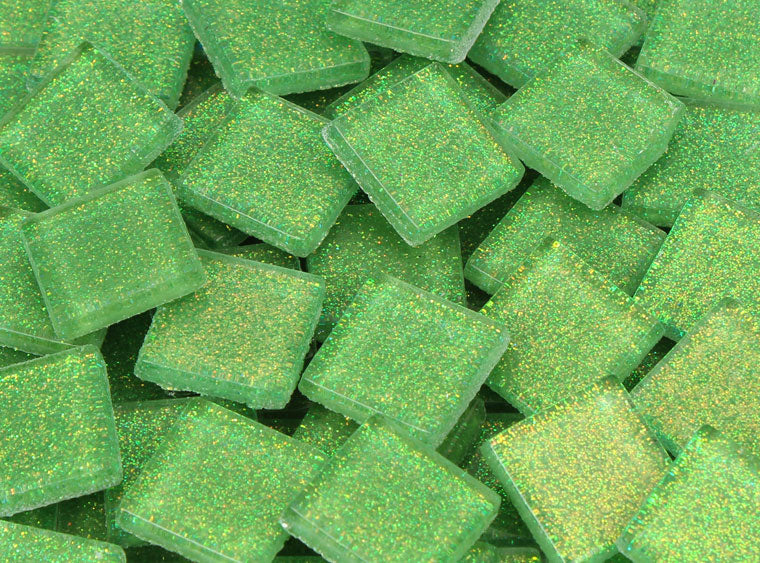 20 MM Bright Green Glitter Mosaic Tile - The Artsy Soul