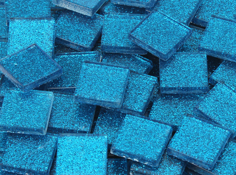 20 MM Medium Blue Glitter Mosaic Tile - The Artsy Soul