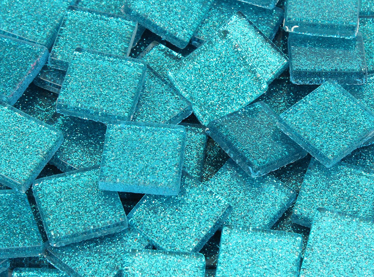 20 MM Azure Blue Glitter Mosaic Tile - The Artsy Soul
