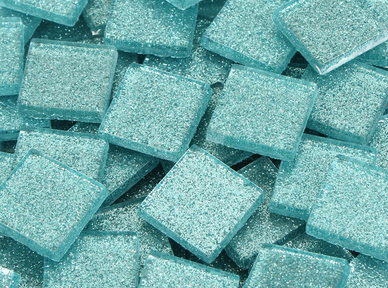 20 MM Bondi Blue Glitter Mosaic Tile - The Artsy Soul