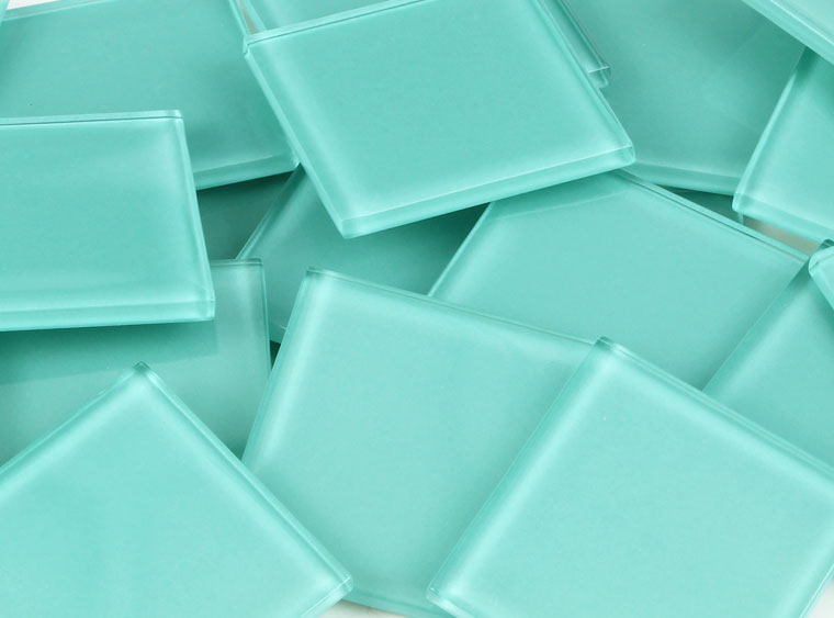 48 MM Aqua Crystal Glass Mosaic Tile - The Artsy Soul