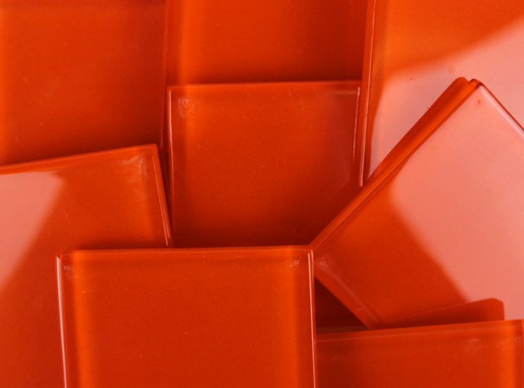 48 MM Orange Crystal Glass Mosaic Tile - The Artsy Soul
