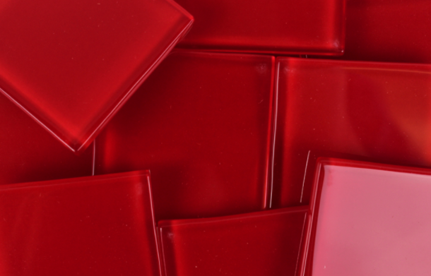 48 MM Medium Red Crystal Glass Mosaic Tile - The Artsy Soul