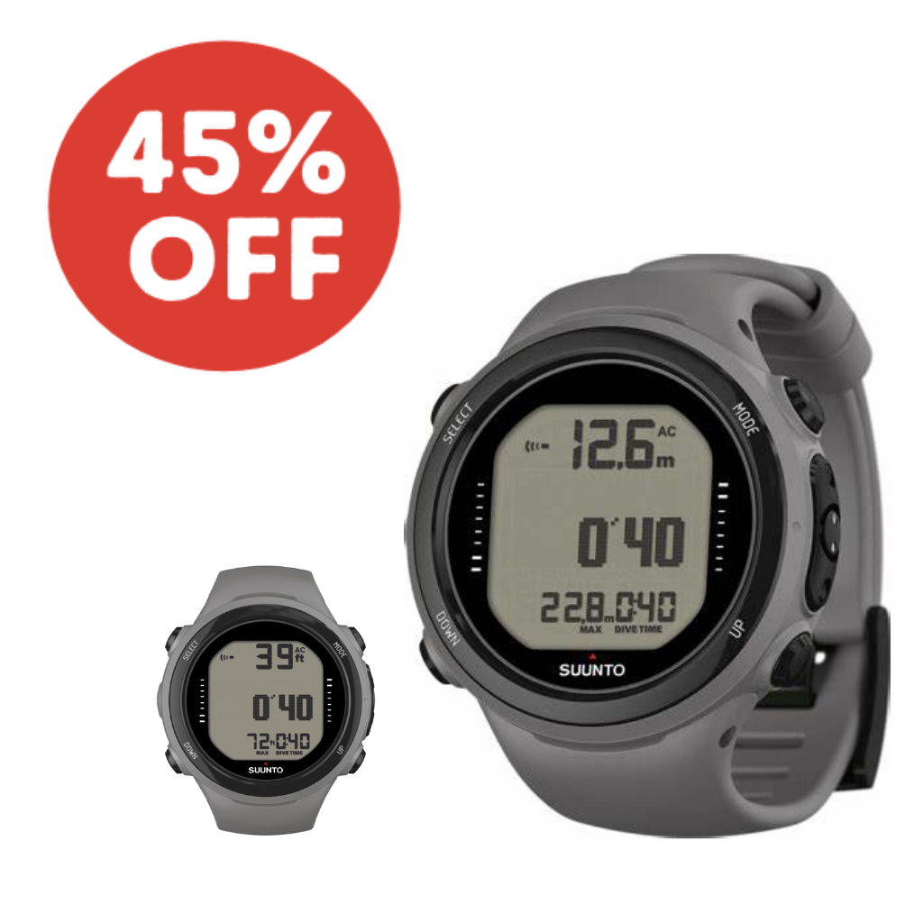 SUUNTO D4I NOVO GREY DIVE COMPUTER WITH FREE USB CABLE AND GREY EXTENSION STRAP