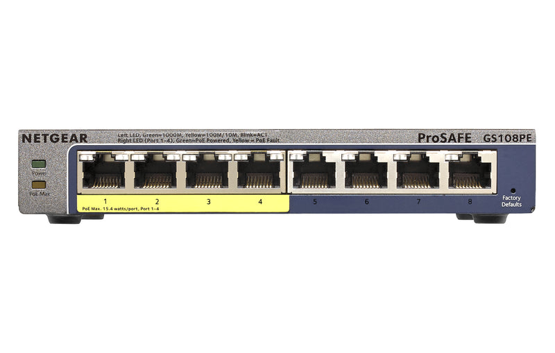 Netgear GS108PE Managed Gigabit Ethernet (10/100/1000) Power over Ethernet (PoE) Black