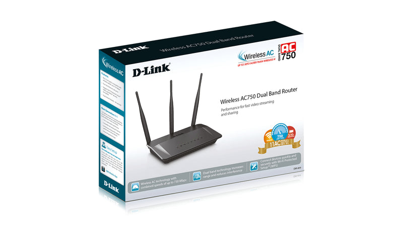 D-Link DIR-809 wireless router Dual-band (2.4 GHz / 5 GHz) Fast Ethernet Black