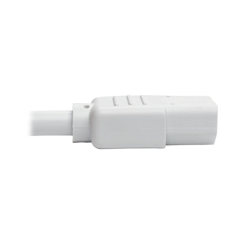 Tripp Lite Standard Computer Power Extension Cord, 10A, 18 AWG (IEC-320-C14 to IEC-320-C13), White, 0.61 m