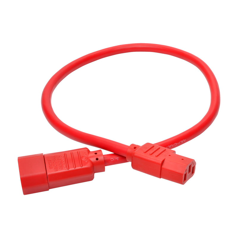 Tripp Lite Heavy-Duty Power Extension Cord, 15A, 14 AWG (IEC-320-C14 to IEC-320-C13), Red, 0.61 m