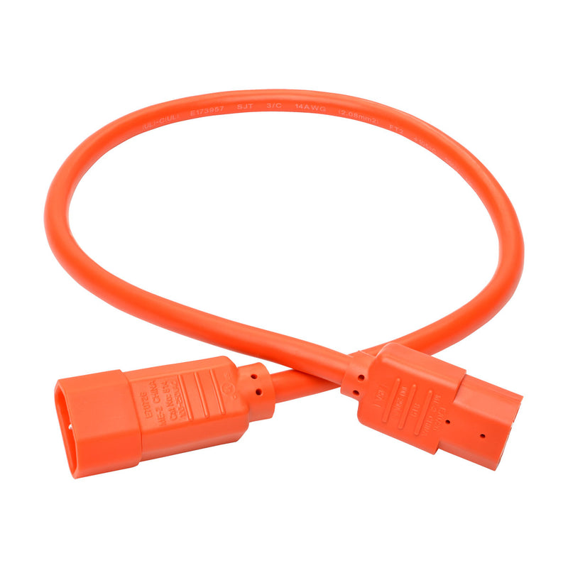 Tripp Lite Heavy-Duty Computer Power Cord, 15A, 14 AWG (IEC-320-C14 to IEC-320-C15), Orange, 0.61 m