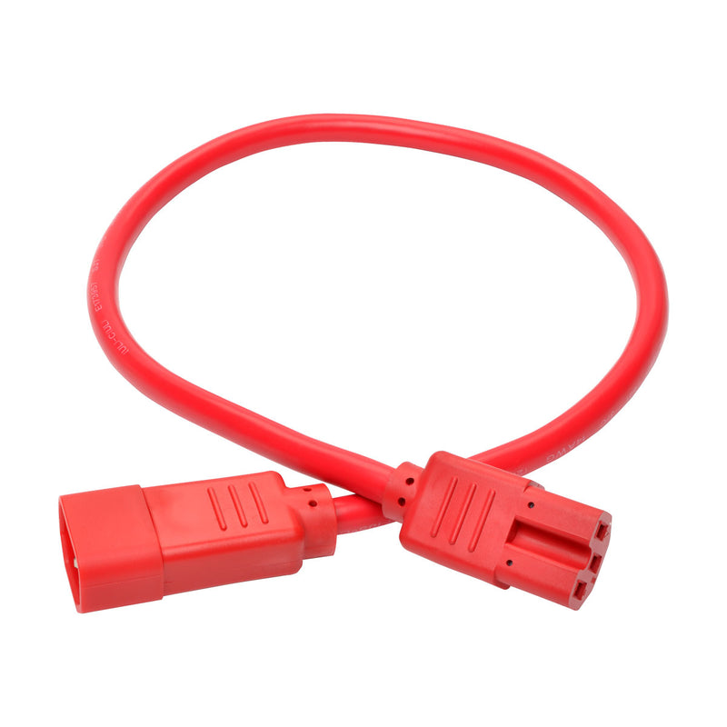 Tripp Lite Heavy-Duty Computer Power Cord, 15A, 14 AWG (IEC-320-C14 to IEC-320-C15), Red, 0.61 m