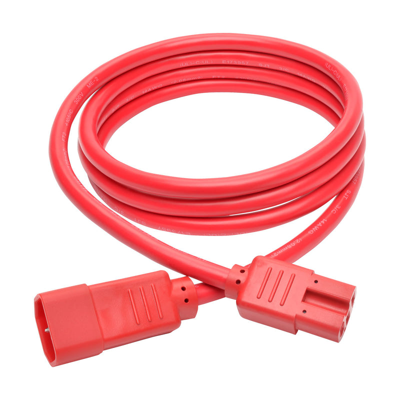 Tripp Lite Heavy-Duty Computer Power Cord, 15A, 14 AWG (IEC-320-C14 to IEC-320-C15), Red, 1.83 m