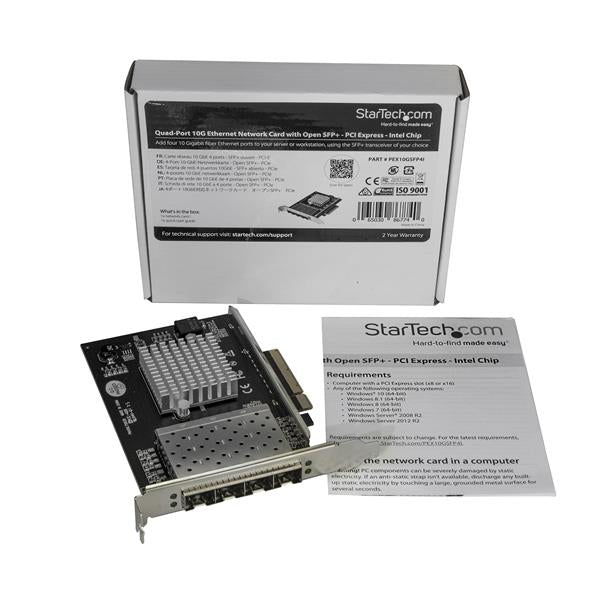 StarTech.com Quad Port 10G SFP+ Network Card - Intel XL710 Open SFP+ Converged Adapter - PCIe 10 Gigabit Ethernet Server NIC - 10GbE Fiber Optic LAN Card - Dell PowerEdge HPE ProLiant