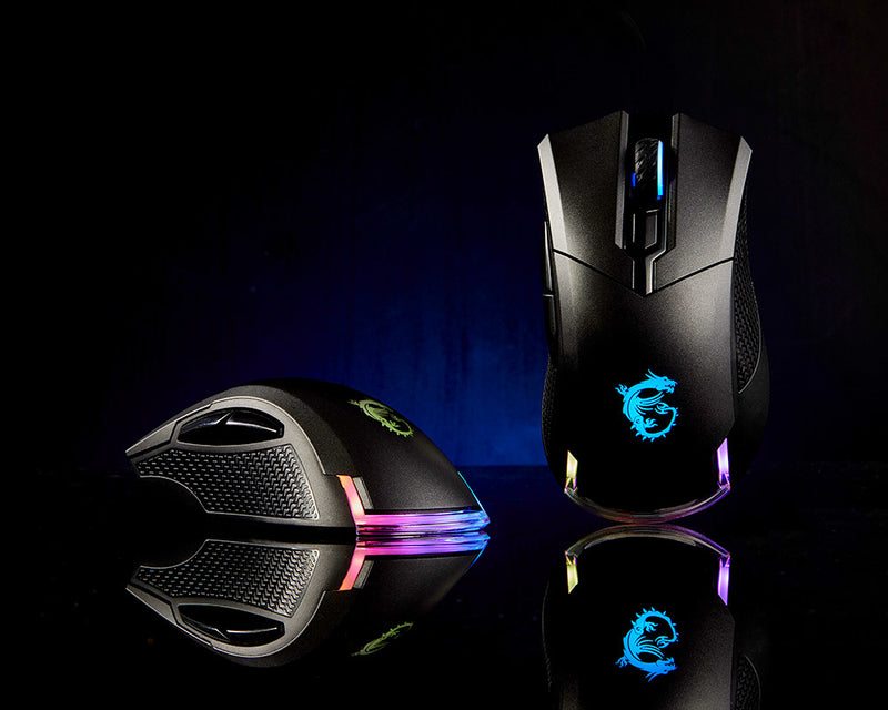 MSI CLUTCH GM50 RGB Optical FPS Gaming Mouse '7200 DPI Optical Sensor, 6 Programmable button, 3-Zone RGB, Ergonomic design, OMRON Switch with 20+ Million Clicks, RGB Mystic Light'