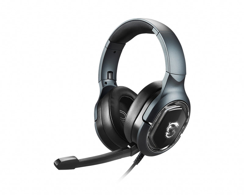 MSI IMMERSE GH50 7.1 Virtual Surround Sound RGB Gaming Headset 'Black with Ambient Dragon Logo, RGB Mystic Light, USB, inline audio controller, 40mm Drivers, detachable Mic'