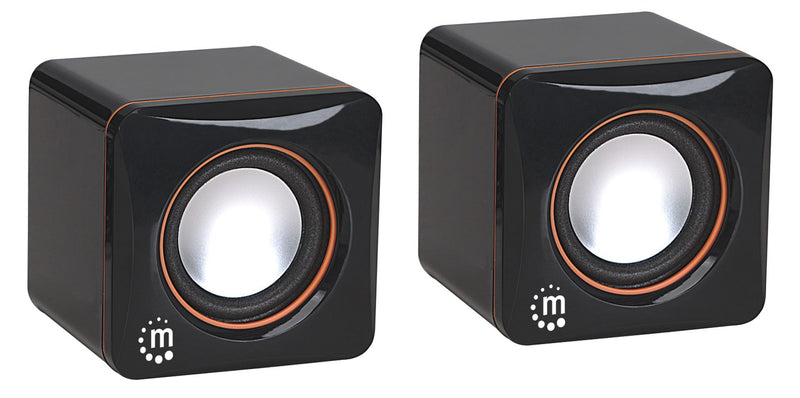Manhattan 2600 Series Speaker System (Promo), Small Size, Big Sound, Two Speakers, Stereo, USB power, Output: 2x 3W, 3.5mm plug for sound, In-Line volume control, Cable 0.9m, Black, Box