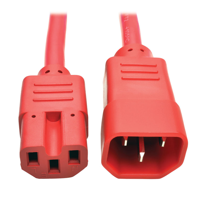 Tripp Lite Heavy-Duty Computer Power Cord, 15A, 14 AWG (IEC-320-C14 to IEC-320-C15), Red, 0.91 m