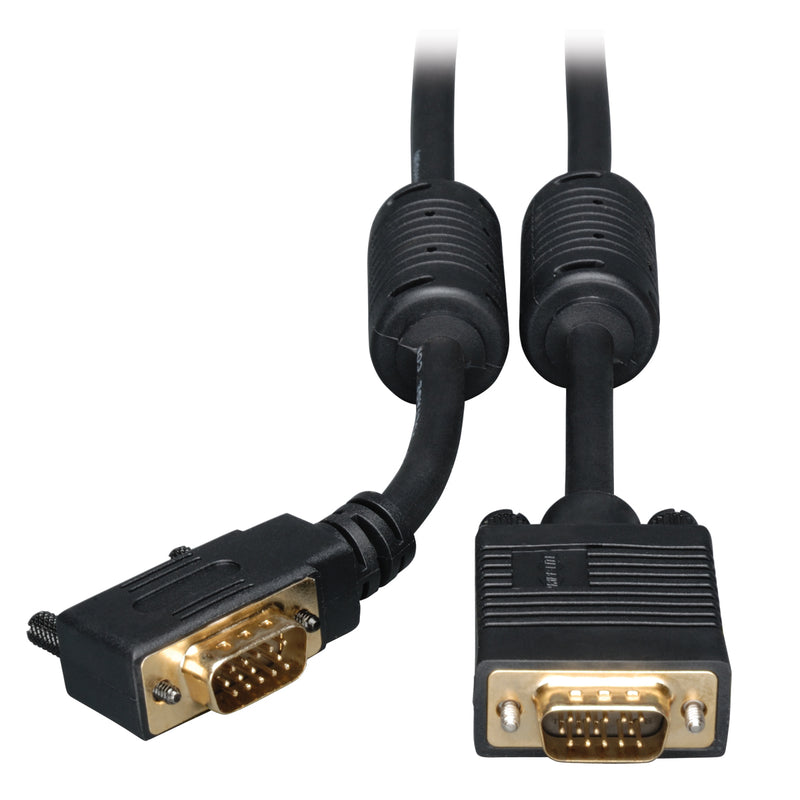 Tripp Lite VGA Coax Right-Angle Monitor Cable, High Resolution Cable with RGB Coax (HD15 M/M), 3.05 m