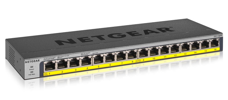 Netgear GS116PP Unmanaged Gigabit Ethernet (10/100/1000) Black Power over Ethernet (PoE)