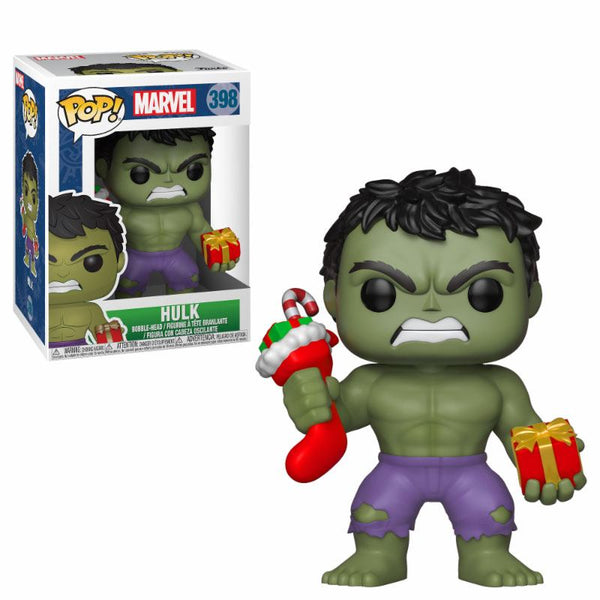 Marvel Comics POP! Marvel Holiday Vinyl Wackelkopf-Figur - Hulk (Stocking & Plush) 9 cm
