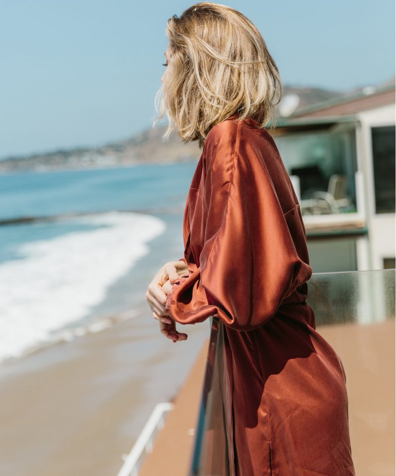 Ashley in the Washable Silk Robe in Malibu