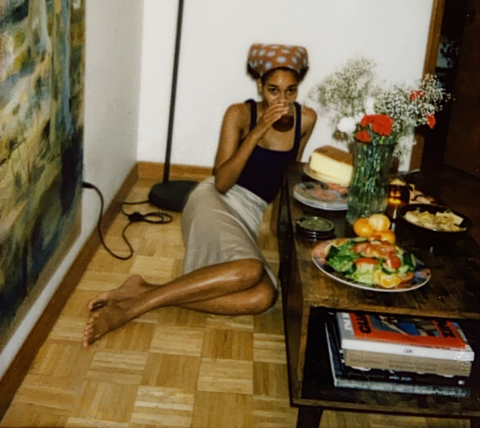 Michelle with food and drink