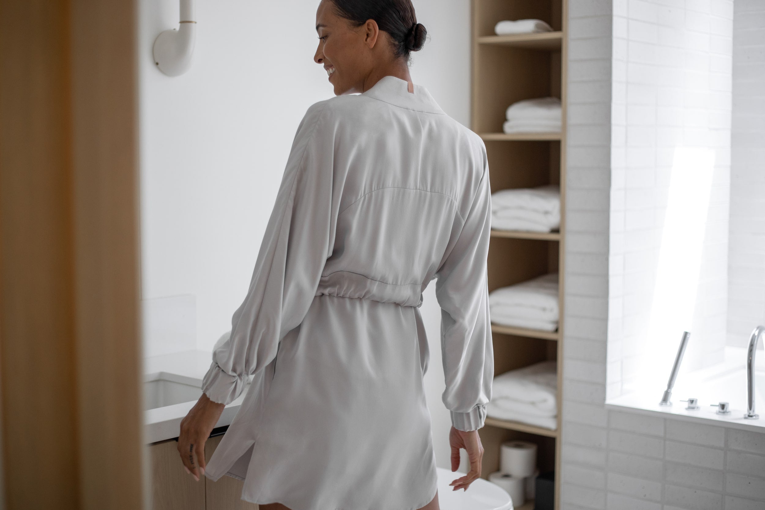 Washable Silk Robe in Cloud