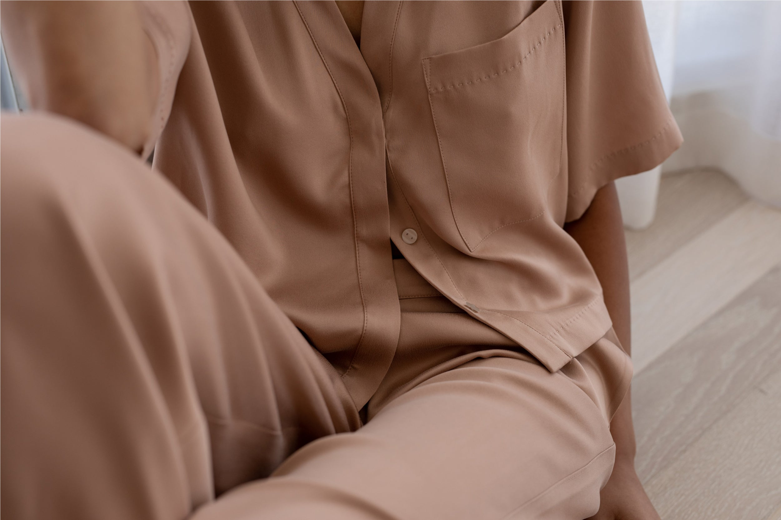 Washable Silk Button Down Pant Set in Bare