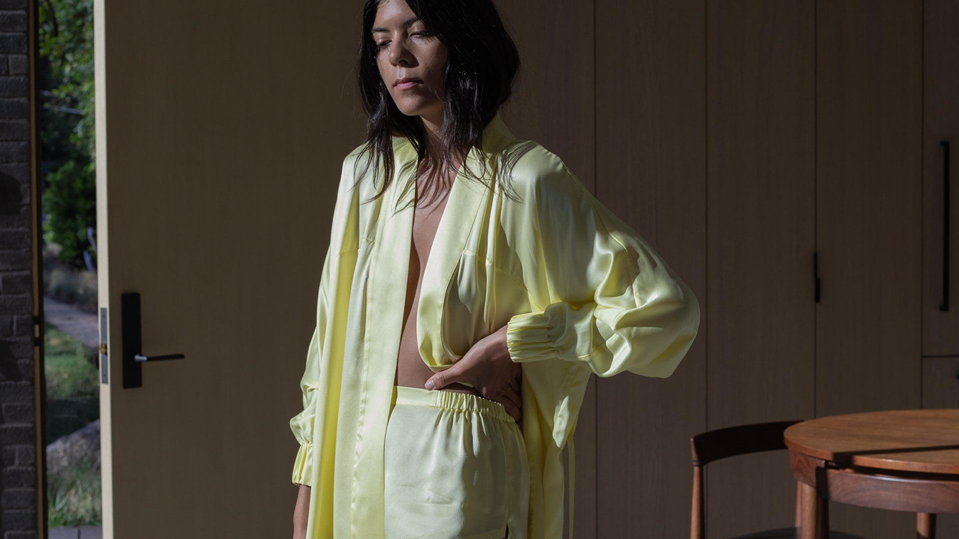 Washable Silk Robe in Sol