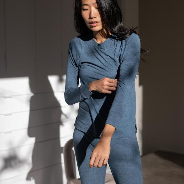 Lunya Sleepwear - Restore Long Sleeve Crew in Nova