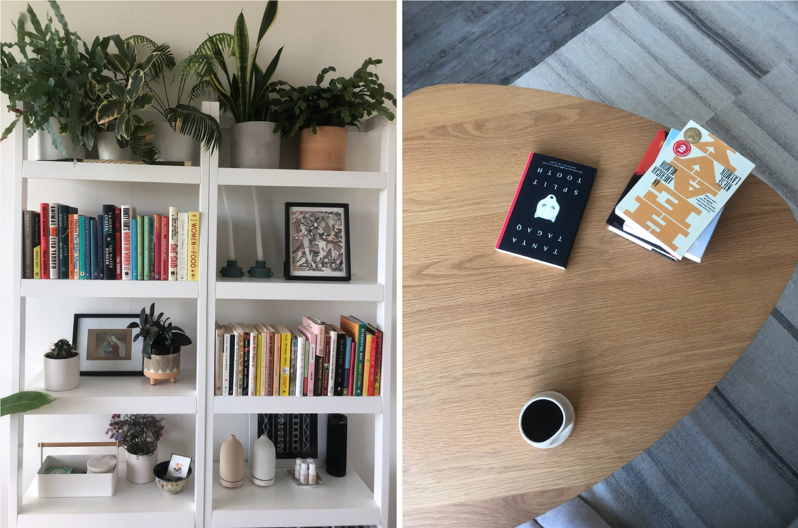 Coffee table and books
