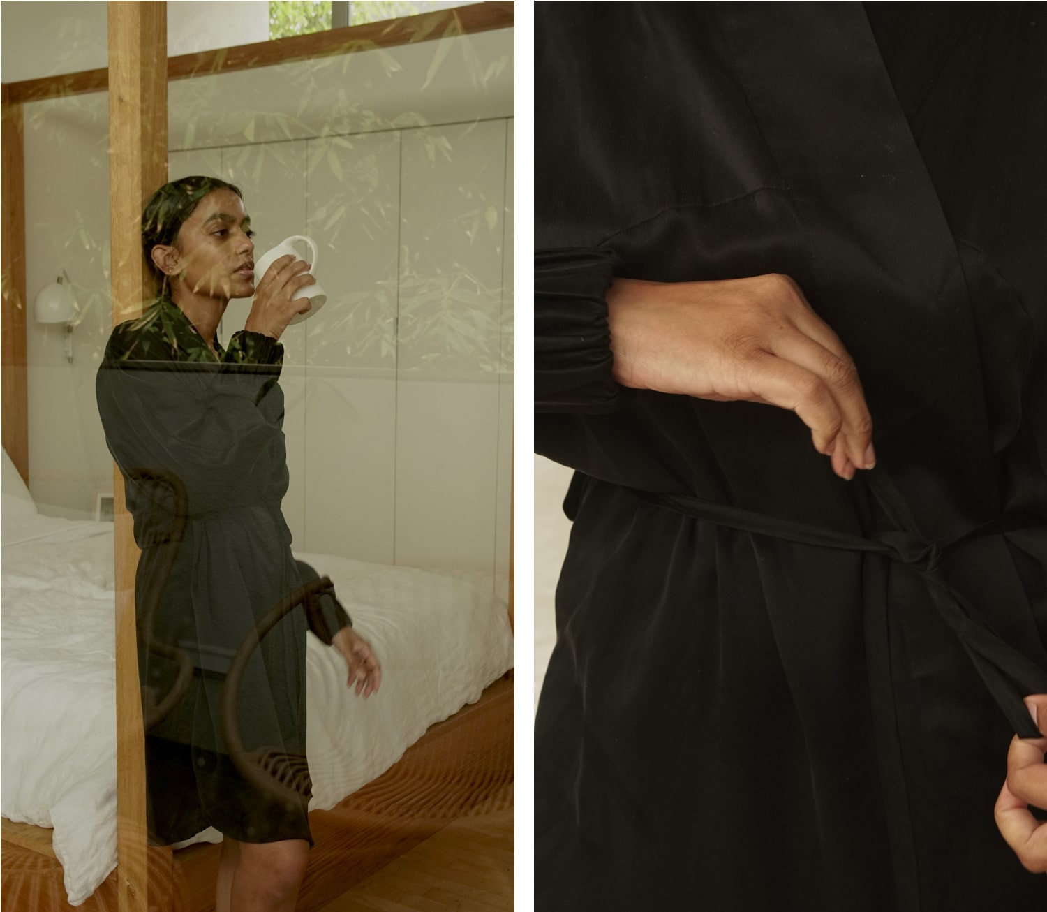 Stella in the Washable Silk Robe in Immersed Black