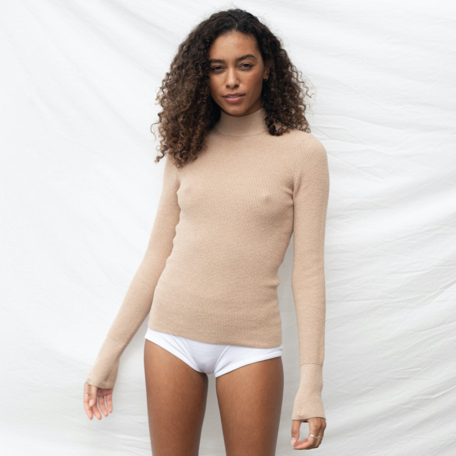 Lunya Sleepwear Cozy Cotton Silk Mock Neck - #Nutmeg
