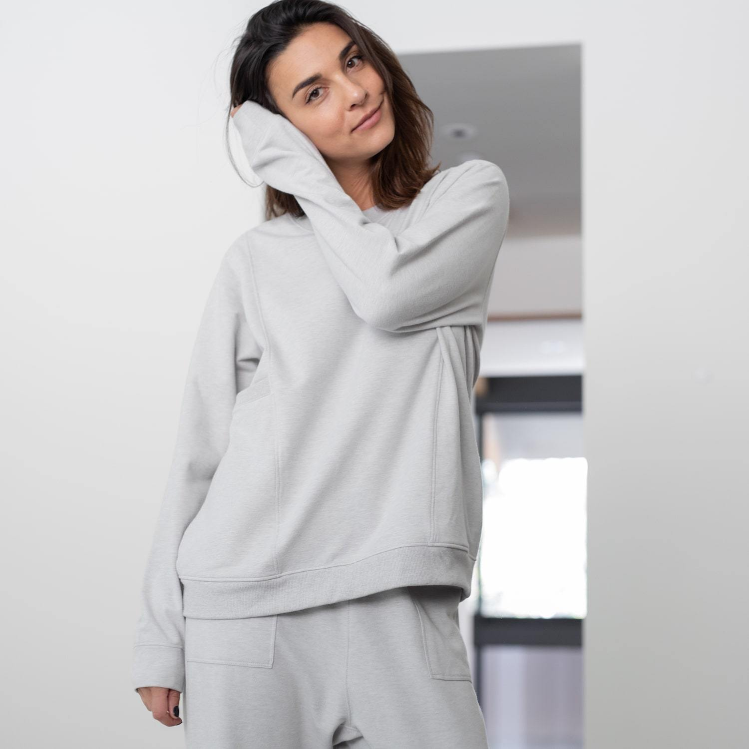 Lunya Sleepwear Cozy Pima Alpaca Fleece Relaxed Sweatshirt - #Cloud