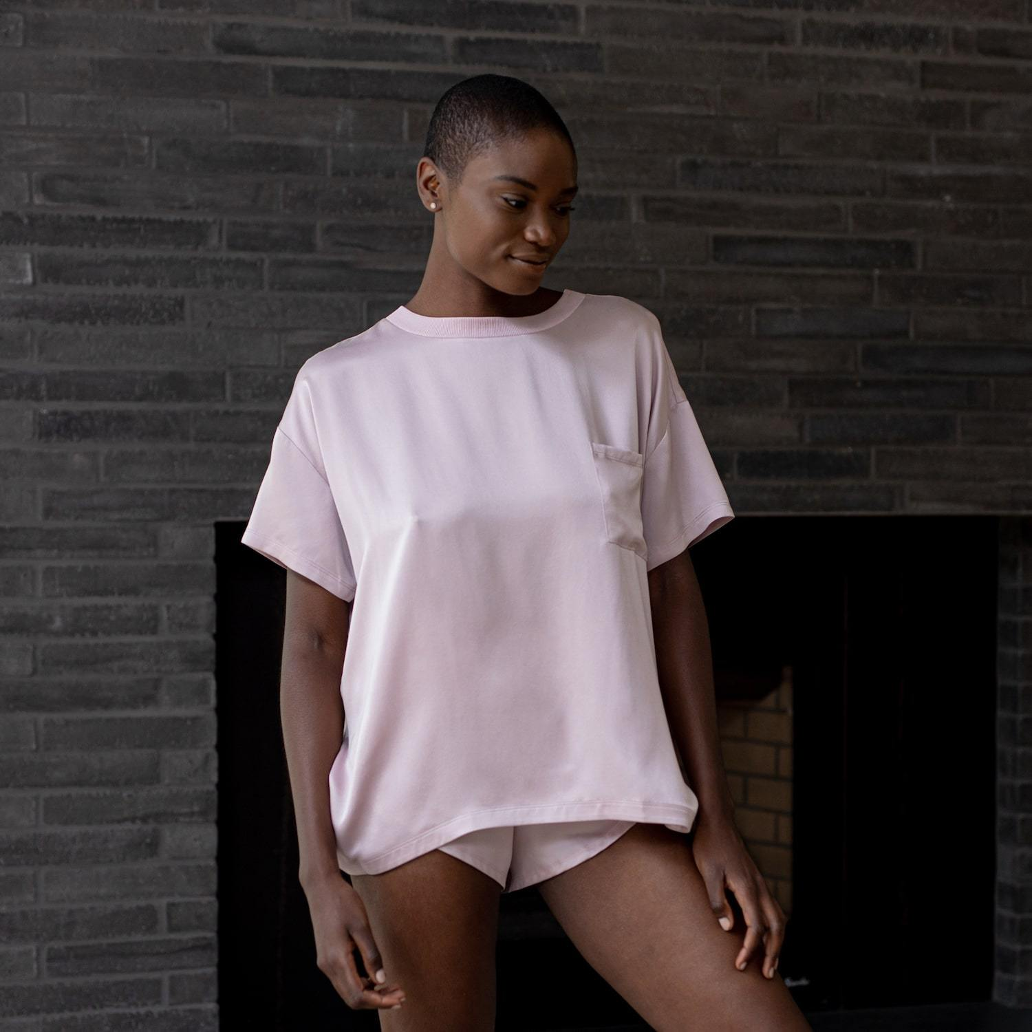 Lunya Sleepwear Washable Silk Tee Set - #Aura