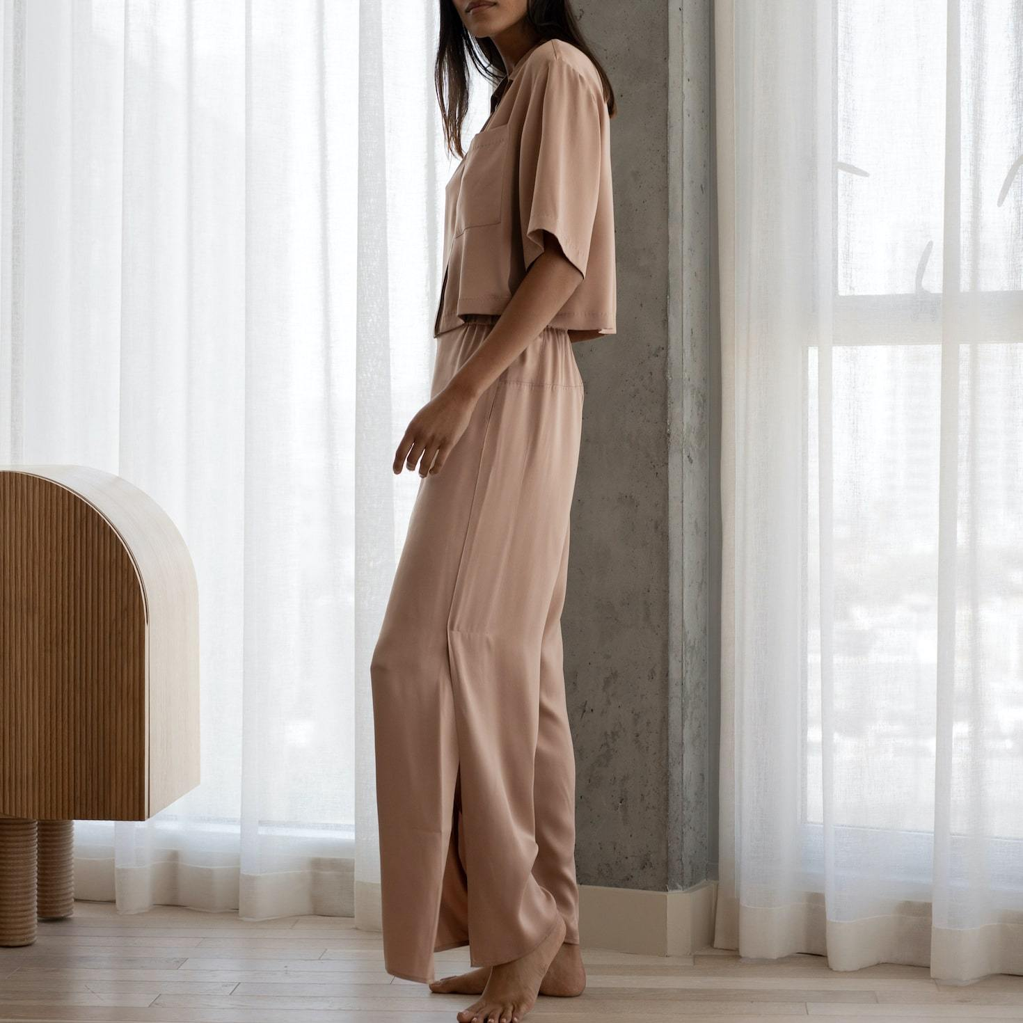 Lunya Sleepwear Washable Silk Button Down Pant Set - #Bare/Otium Tan