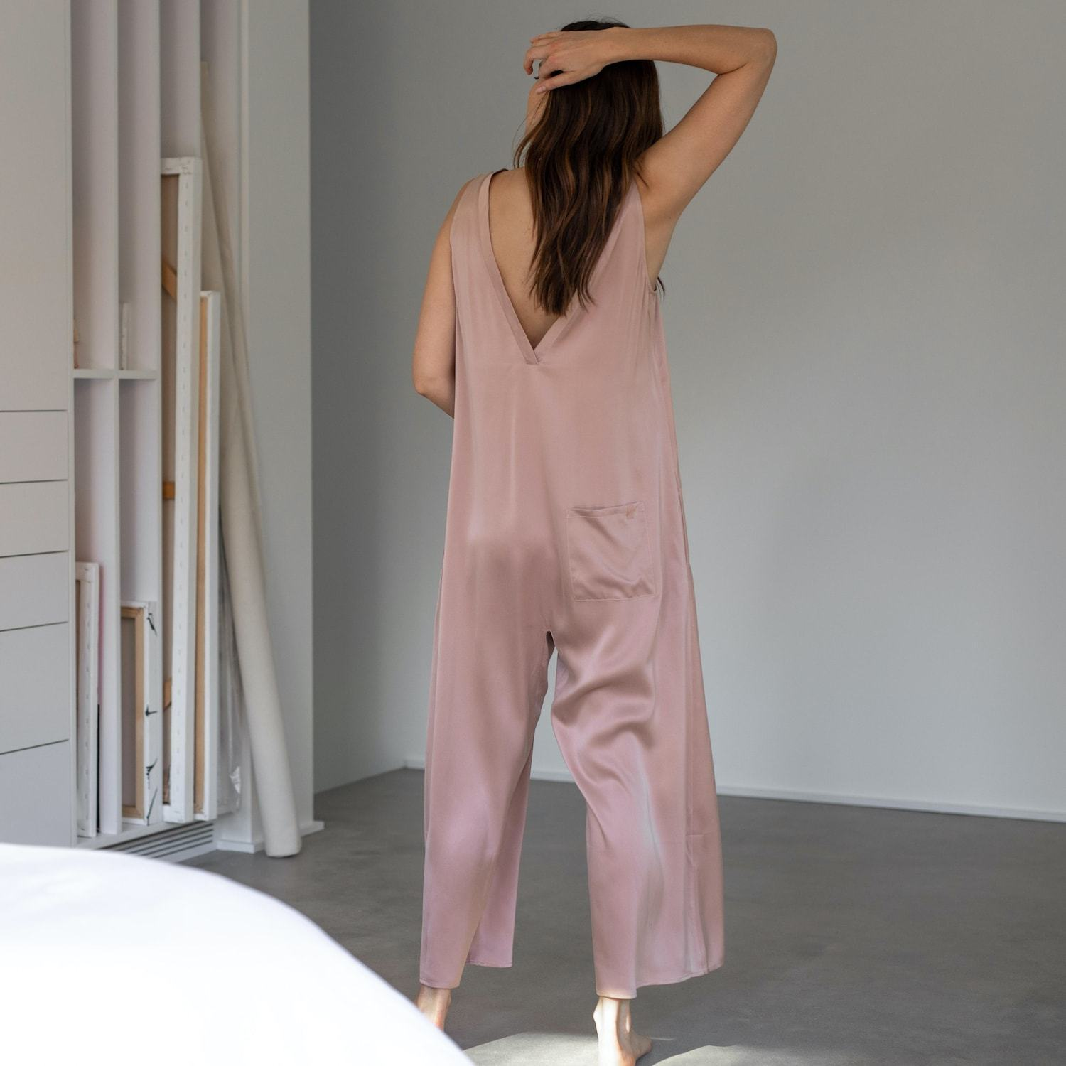 Lunya Sleepwear Washable Silk Double V Jumpsuit - #Bare/Otium Tan