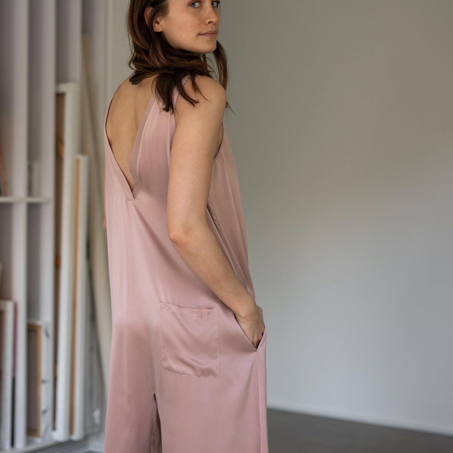 Lunya Sleepwear Washable Silk Double V Jumpsuit - #Bare