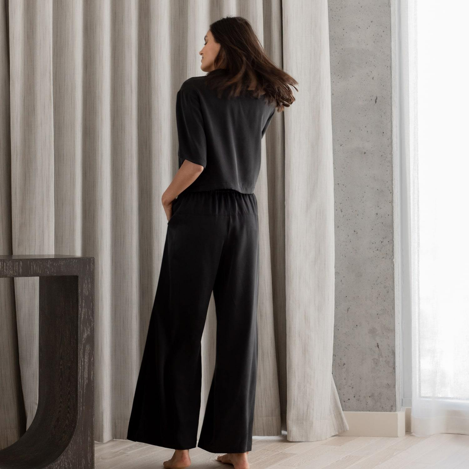 Lunya Sleepwear Washable Silk Button Down Pant Set - #Washed Black
