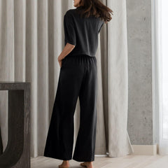 Lunya Sleepwear Washable Silk Button Down Pant Set - #Immersed Black