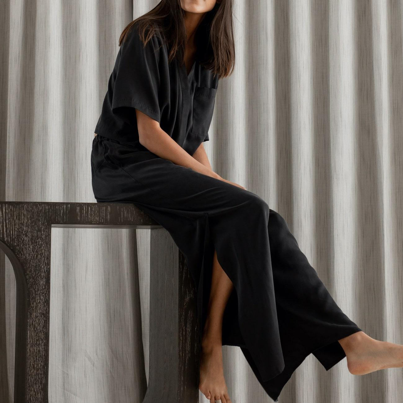 Lunya Sleepwear Washable Silk Button Down Pant Set - #Black