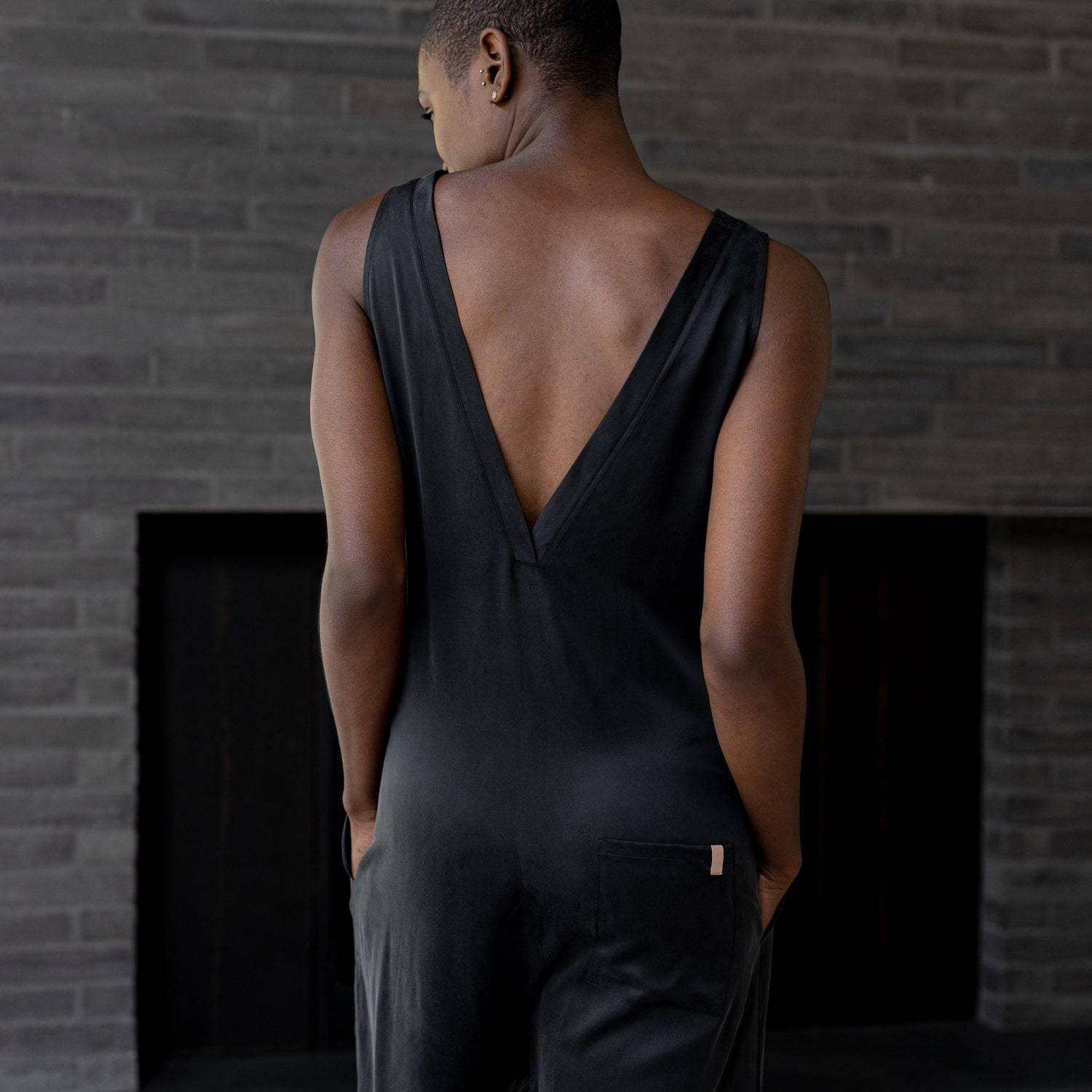 Washable Silk Double V Jumpsuit