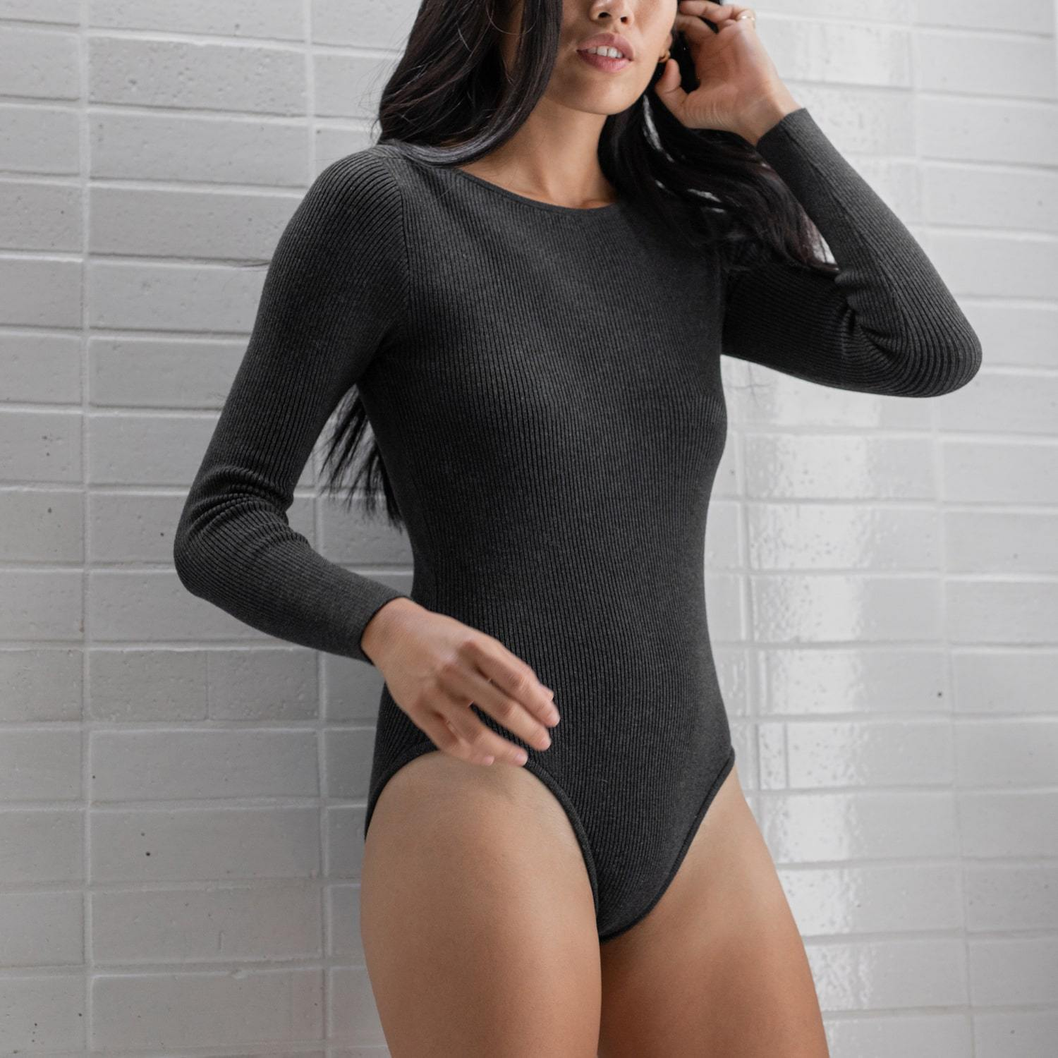 Lunya Sleepwear Cozy Pima Alpaca Ribbed Bodysuit - #Heather Charcoal
