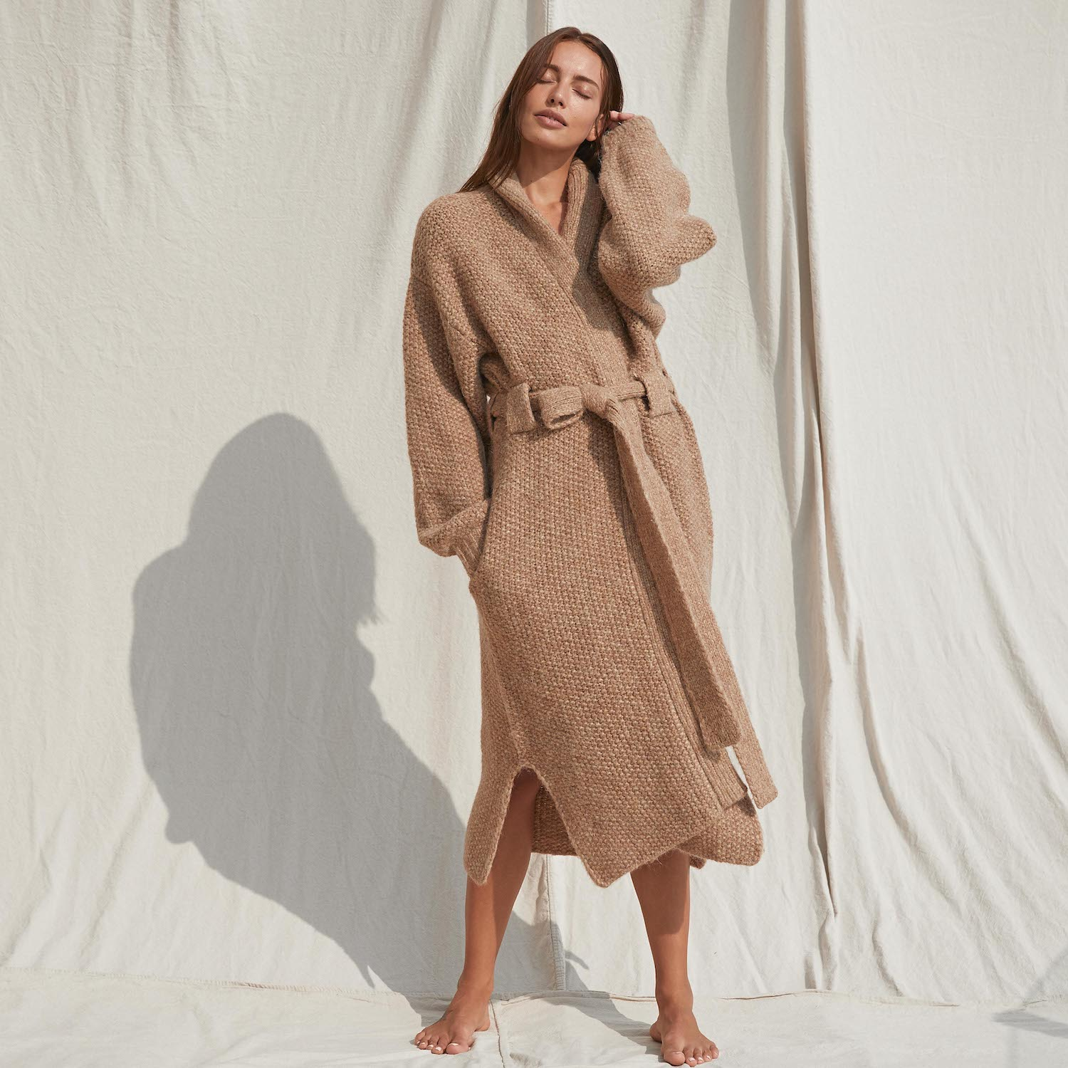 Lunya Sleepwear Chunky Wool Belted Robe - #Ginger