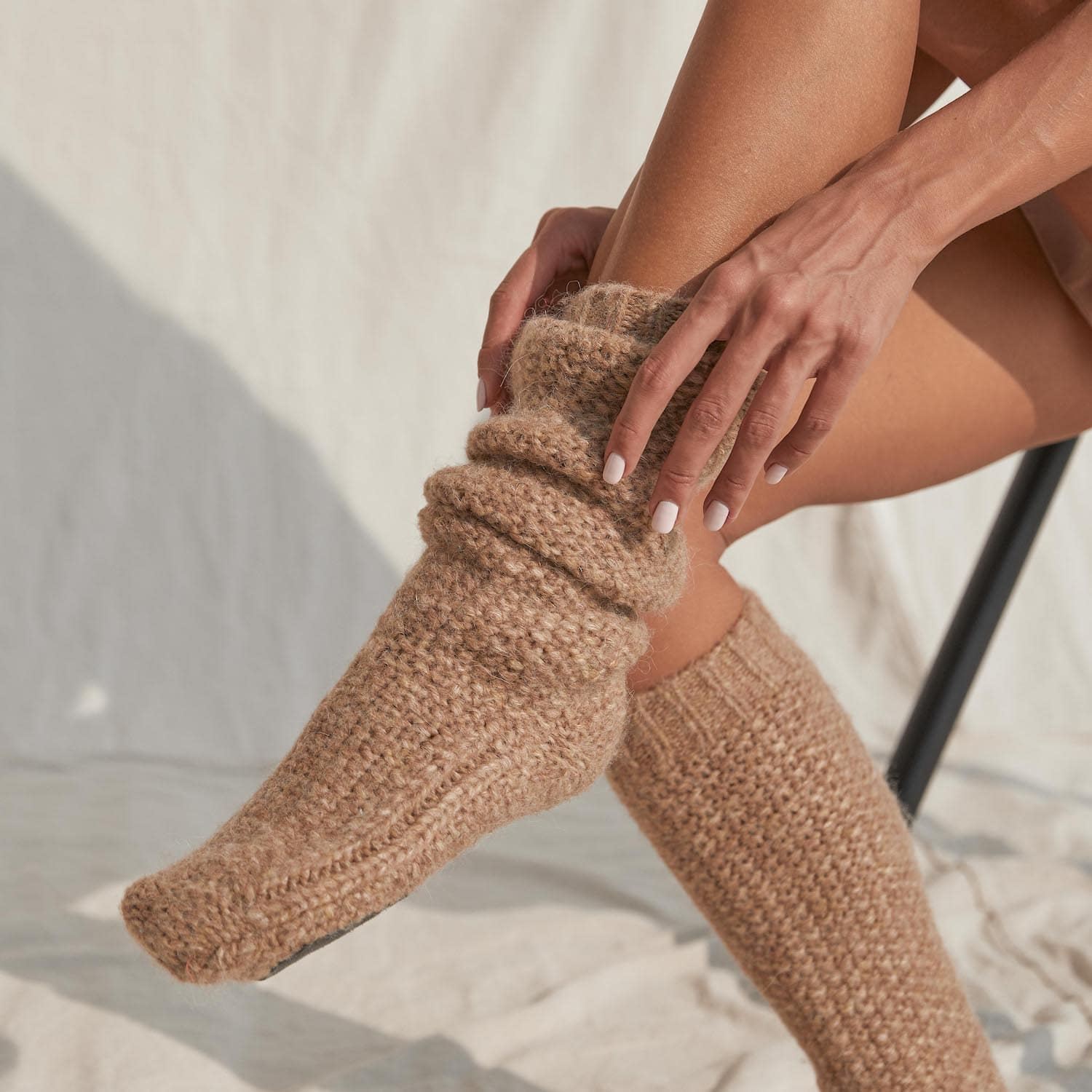 Lunya Sleepwear Chunky Wool Slipper Sock - #Ginger