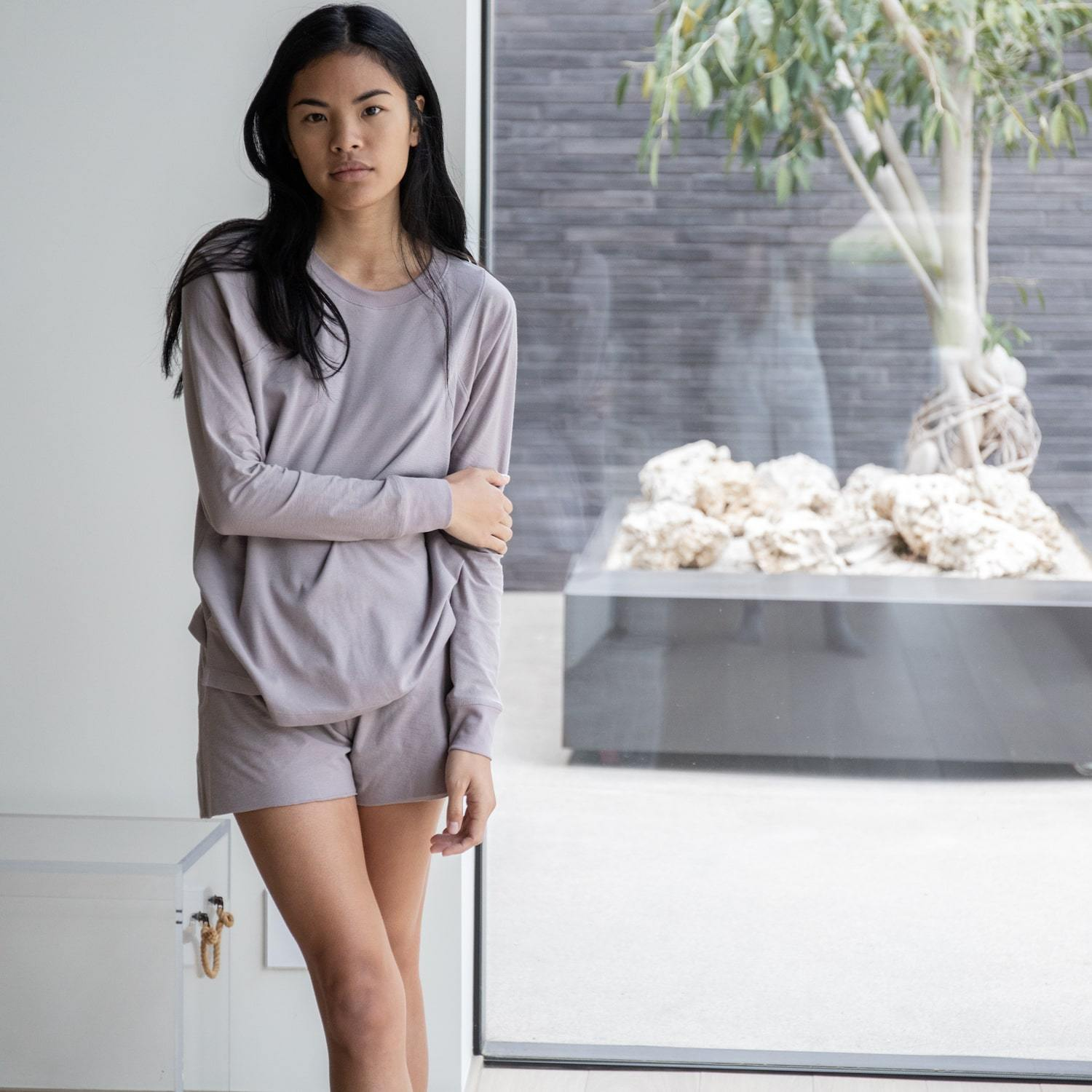 Lunya Sleepwear Cool Long Sleeve Crew - #Mink